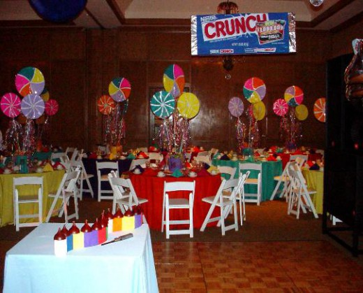 Bar bat mitzvah royal events providing planning and equipment rental for your event - Candyland party table decorations ...